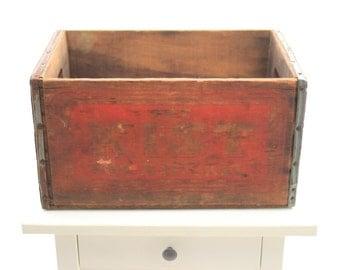 Vintage Soda Crate - Get Kist For a Nickel Antique Kist Soda Wooden Box w. Red Lettering & Metal Banding Pop Bottle Crate
