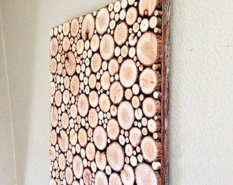 WOOD SLICE PANEL, Wood Slice Mosaic, Wood Slice Art, Rustic Wall Hanging