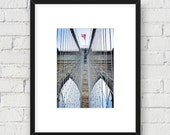 Brooklyn Bridge Close Up, New York, NYC: 5x7 Matted Photo