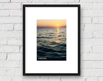 Vibrant Sunset on the Water; Nature Landscape: 5x7 Matted Photo