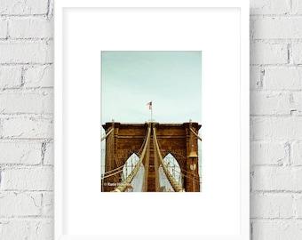 Brooklyn Bridge, New York, NYC: 5x7 Matted Photo