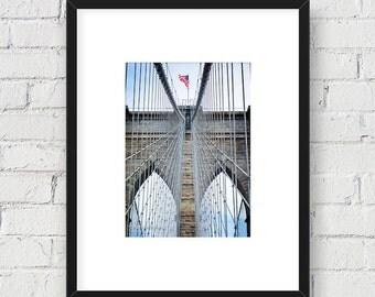 Brooklyn Bridge Close Up, New York, NYC: 5x7 Matted Photo