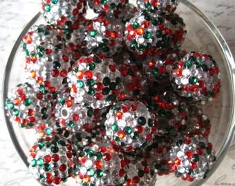 Christmas Rhinestone Beads, 20mm Red, Green and Clear Disco Ball Bead, 10 pcs, Gumball Beads, Bubblegum Bead, Acrylic Bead