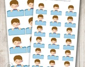 Sick Day Boy, Set of 12 or 18, perfect for Erin Condren Life Planner, Filofax, Plum Planner, Calendar
