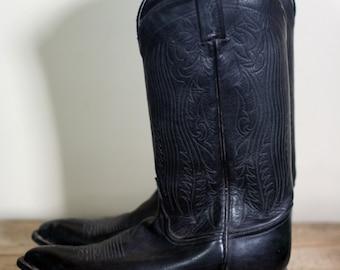 vintage tony lama black leather cowboy boots mens size 9.5M