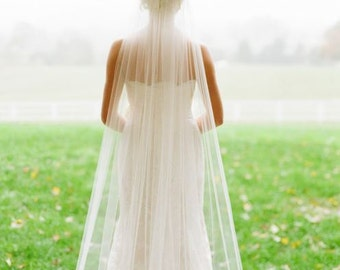 Cathedral, fingertip, elbow, shoulder wedding veil, **108 in. wide** white to ivory, blush, cut edge, one tier with clip