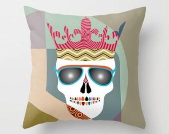 Skull Pillow, Skull Pillow Cover, Skull Throw Pillow, Skull Pillow Case, Unique Throw Pillow, Skull Glasses, Skull Crown