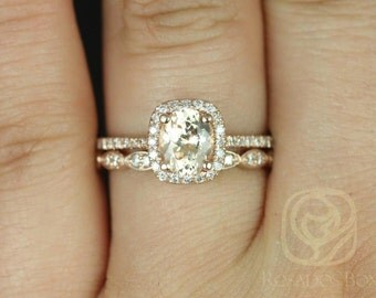 Romani  1.23cts & Christie 14k Rose Gold Peach Champagne Sapphire and Diamond Cushion Halo Wedding Set