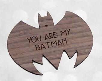 Batman Magnet - Laser Cut on Walnut Wood