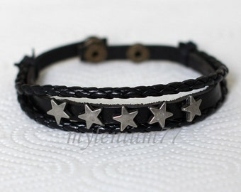 285 Men's black leather bracelet Stars bracelet Charm bracelet Braided bracelet Woven bracelet Fashion jewelry Birthday gift For men & women