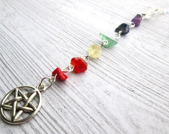 Chakra Necklace, Pagan necklace, pentacle necklace, Wicca necklace, witch pagan, pentagram necklace,yoga necklace, Seven Chakras, wicca wear