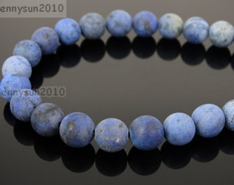Natural Matte Dumortierite Frosted Gemstones 4mm 6mm 8mm 10mm 12mm Round Loose Spacer Beads 15'' Strand Jewelry Design