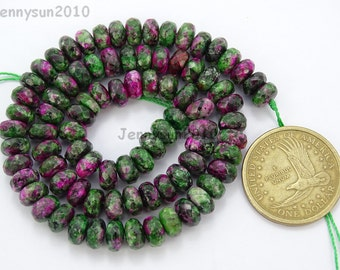 Natural Ruby Zoisite Gemstones 5mm x 8mm Faceted Rondelle Spacer Loose Beads 15'' Strand Jewelry Design