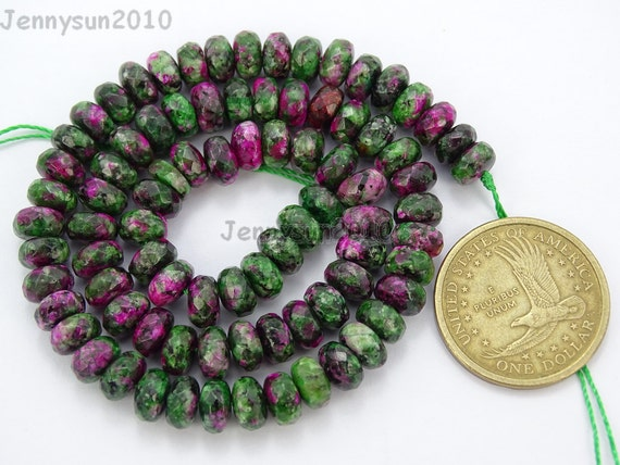 Natural Ruby Zoisite Gemstones 5mm x 8mm Faceted Rondelle ...- photo #50