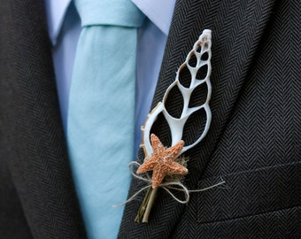 Shell Boutonniere Sugar Starfish Groom Groomsmen Boutonniere Coastal Wedding Beach Wedding Nautical Jute Magnet on back