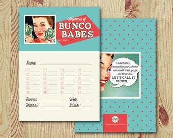 Retro // Bunco Score Cards - INSTANT DOWNLOAD