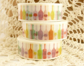 Colorful Wine Glass, Wine Bottle,  Champagne, New Years Washi Tape - H1903