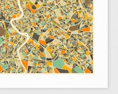 ROME Map, Giclee Fine Art Print, Modern Wall Art for the Home Decor