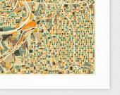 KANSAS CITY Map, Giclee Fine Art Print, Modern Wall Art for the Home Decor
