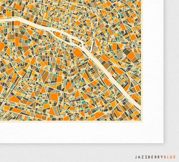 PARIS Map, Giclee Fine Art Print, Modern Wall Art for the Home Decor by Jazzberry Blue