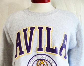 go Eagles vintage 90's Avila College University heather grey reverse weave fleece graphic sweatshirt college crest puffy print logo large