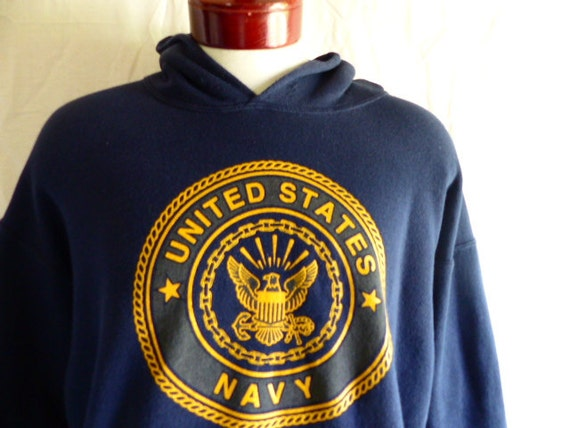 vintage 80's 90's United States U.S. Navy blue fleece