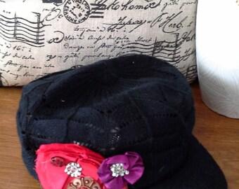 KNIT STYLE Fashion  hat, uniquie embellishments - by signarto4