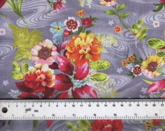 Fat Quarter Shimmering Bouquets Floral Flowers 100% Cotton Quilting Fabric