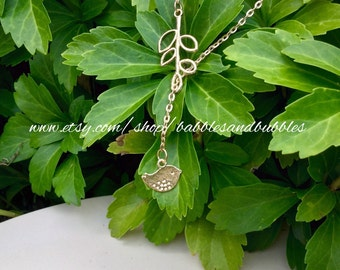 Charming Gold Metal Bird Lariat Necklace