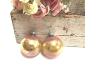 Vintage Shiny Brite Ornaments - Ombre - Pink Gold - Striated - Glass - Pair Lot Set - Shiny Brite