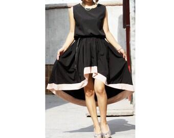 Goddess irregular hem Tuxedo dress swallowtail Sleeveless dress Chiffon Dress patchwork dress