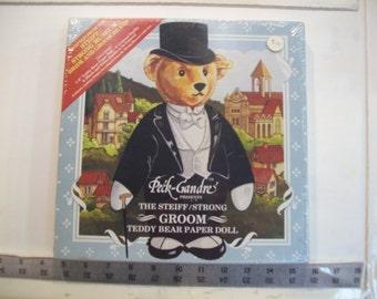 Vintage Peck-Gandre Steiff / Strong Groom Teddy Bear Paper doll  1985 in sealed box