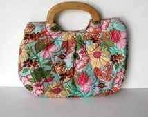 Vintage Vera Bradley fabric purse handbag, Turquoise and pink purse,  Wooden handles, Women's Accessory, gift idea