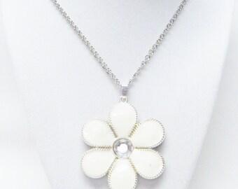 Large Off White Enamel Flower Pendant Necklace