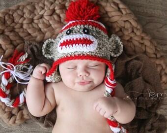Sock Monkey Hat Baby Newborn Photo Prop Winter Cap with Braids
