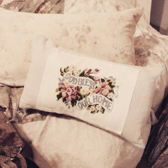 Items similar to Custom made vintage embroidered God Bless our home antique pillow cover linen ...