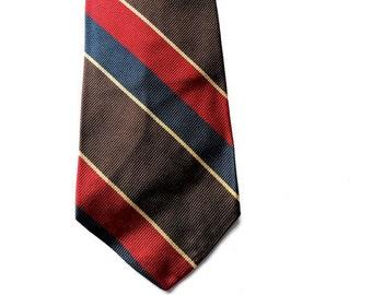 "80s Mens Striped Necktie - Diagonal Stripes - Silk - Brown Burgundy Blue - 3"" - Narrow Mens Necktie - Mens Tie - Mens Necktie Ties"