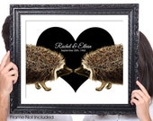 Personalized Couples Wall Art, Hedgehog, Names, Wedding Gift, 50th Anniversary, Gift for Girlfriend Wife, Vintage Image, Brown, Beige, Black