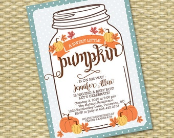 Baby Boy Shower Invitations Little Pumpkin Baby Shower Invitation Mason Jar Fall Baby Shower Invite Fall Leaves Pumpkin Printable Invitation