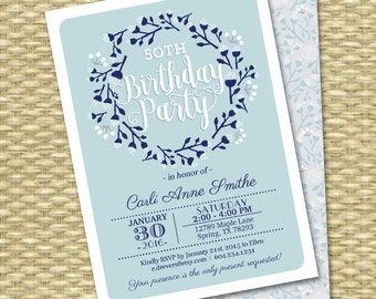 Adult Birthday Invitation Winter Wreath Folk Art Blue Light Blue ANY EVENT