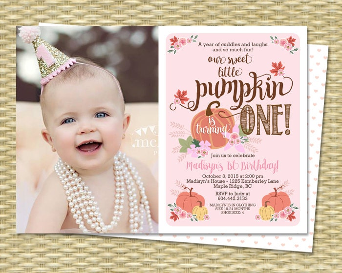 Our Little Pumpkin Birthday Invitation First Birthday - First birthday invitations girl online
