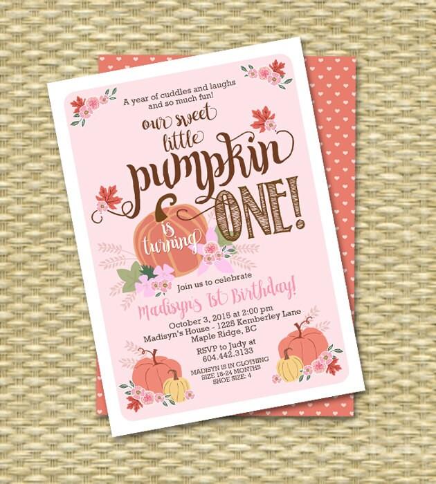 Little Pumpkin Birthday Invitation First Birthday Invitation