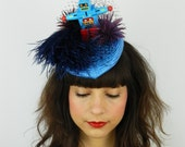 SALE!! 15% off original price - Hat Fascinator Headpiece Feathered Buntal Pointed Percher in Navy & Royal Blue, Black and Plum