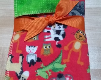 "Orange Green Burp Cloths ""Baby Beasts"""