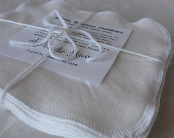 12 perfect little bamboo hankies - 7x7 inches - organic - natural color