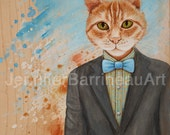 Cat in Suit with Bow Tie Art Matted Art Print from an original painting By Jennifer Barrineau called Clever Cat