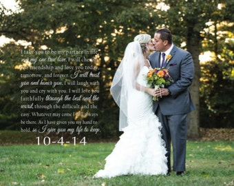 Wedding Photo Canvas with lyrics or Vows, First Dance photo with words,  Cotton Anniversary, Personalized Wedding gift, bride and groom