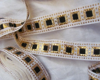 Embroidered White Black Gold Woven Floral Trim Edge  - .75 Inches Wide - Original Vintage 1970s - 2.5 Yards Total