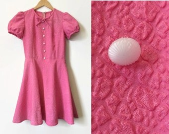"1960s Dress - Vintage 60s Dress - Bubble Gum Pink - Sweet Skater Dress - 32"" Bust XS"