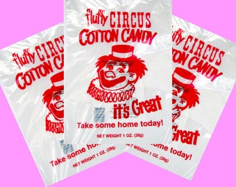 100 Top Quality 12x18 inch Cotton Candy Bags with Ties, Fun Printed Gold Medal Printed Cotton Candy bags, Food safe plastic wholesale bags